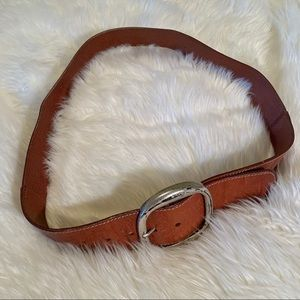 Brown oversized leather belt